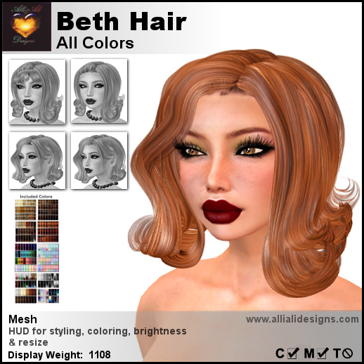 A&A Beth Hair All Colors-pic